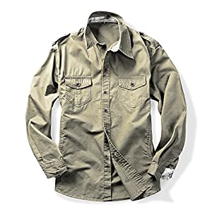 Men's Long Sleeve Military Style Cargo Tactical Work Shirt