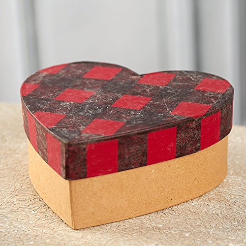 2 Boxes Factory Direct Craft Paper Mache Heart Shaped Boxes with Buffalo Check