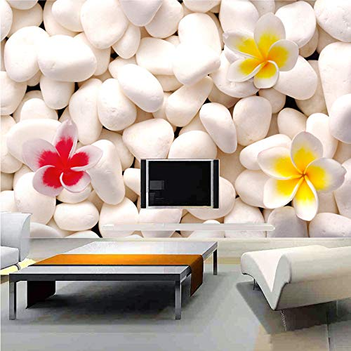 Shuangklei 3D Wall Mural Sofa Tv Background Custom Murals Bedroom Non-Woven Fabric White Cobblestone Flower 3D Photo Murals-200X140Cm