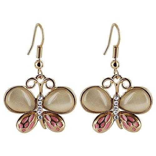 Gold Plated 19mm x 23mm Enamel Butterfly Dangle Earrings