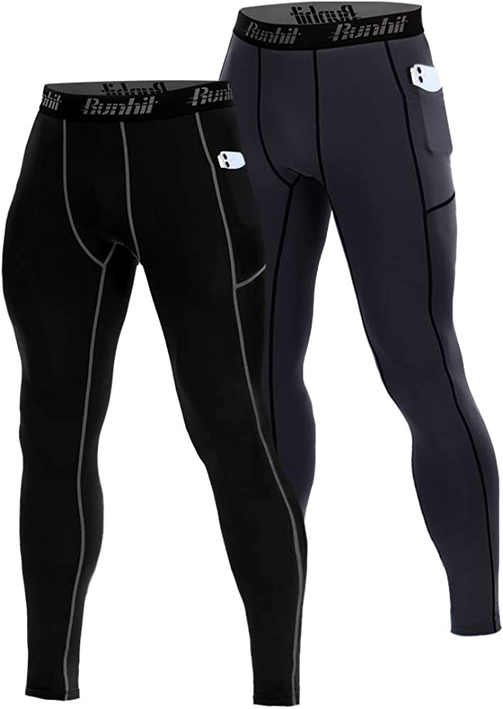 Runhit Compression Pants Men(2 Pack),Spandex Athletic Leggings with Pockets Running Workout Tights Shorts Base Layer