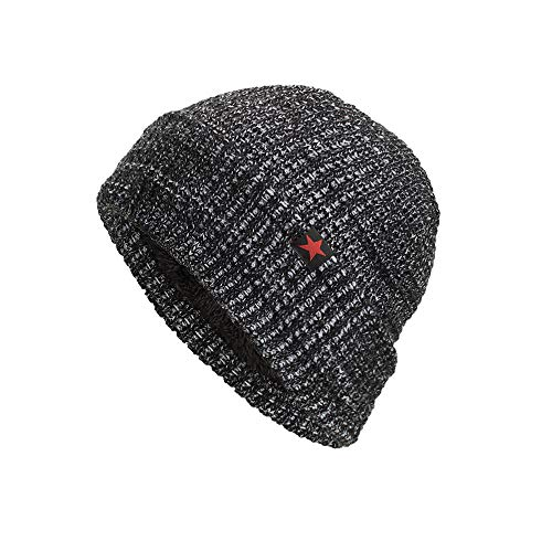 Challyhope Fleece Lined Beanie Hat Mens Winter Solid Color Warm Knit Ski Skull Cap (Gray, one-Size) ()