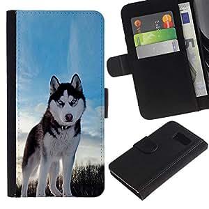 All Phone Most Case / Oferta Especial Cáscara Funda de cuero Monedero Cubierta de proteccion Caso / Wallet Case for Samsung Galaxy S6 // Happy Husky Dog