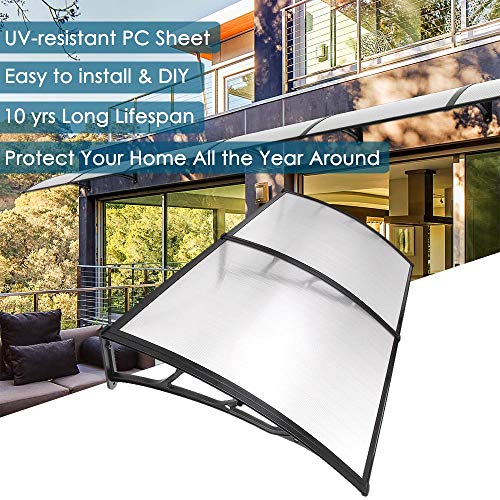 "Yescom 79x40"" Door Window Outdoor Awning Patio Cover UV Rain Protection 2 Whole Polycarbonate Hollow Sheets"