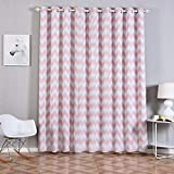 Efavormart 2 Panels White/Blush Polyester Chevron Design Thermal Insulated Blackout Room Darkening Grommet Top Curtain 52″x96″ For Sale