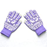 Gloves For Men With Touch Screen Fingers,Grill Gloves,White Gloves Toddler,Christmas Gloves,Men Women Christmas Winter Warm Knitted Cute Gloves,Purple,M