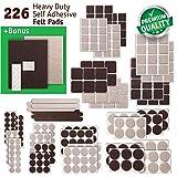 New Anti Scratch Premium Felt Pads – 226 pcs. Large Pack – Best Felt Furniture Pads for Hardwood Floors, Vinyl, Laminate – Chair Leg Floor Protectors Bonus: 24 Bumper Pads & 2 Felt Sheets (2 Colors)