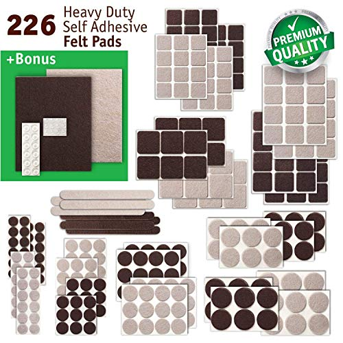 New Anti Scratch Premium Felt Pads – 226 pcs. Large Pack – Best Felt Furniture Pads for Hardwood Floors, Vinyl, Laminate – Chair Leg Floor Protectors Bonus: 24 Bumper Pads & 2 Felt Sheets (2 Col