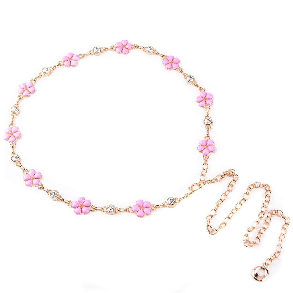 Rcnry Waist Belt, Lady Metal Waist Chain Decoration, Dress with Fashionable Diamond Narrow Belt Waist Chain,Golden
