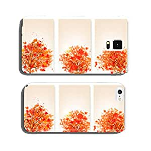 Three autumn abstract banners with colorful leaves and trees.Vec cell phone cover case iPhone6