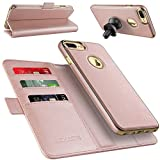 "iPhone 7 Plus Wallet Case with Detachable Slim Case, LOHASIC [3 Card Slots] Premium Leather 2 in 1 [Magnetic Folio Flip] Hands-free Kickstands Pouch Cover for Apple iPhone 7 Plus - [Rose Gold,5.5""]"