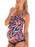 Halter Maternity Tankini Abstract Cutout Pregnancy Swimsuit Two Piece Beach Swimwear L