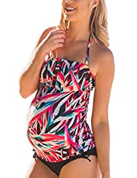 Halter Maternity Tankini Abstract Cutout Pregnancy Swimsuit