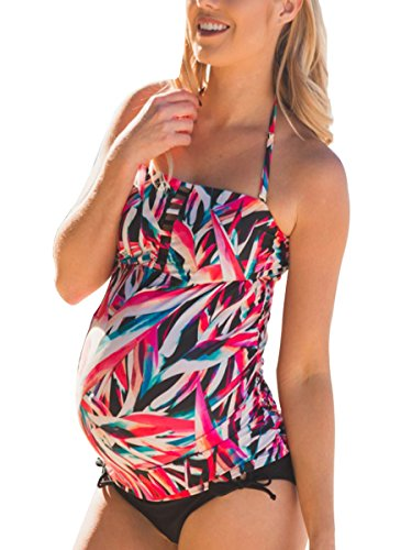Halter Maternity Tankini Abstract Cutout Pregnancy Swimsuit Two Piece Beach Swimwear M by MiYang