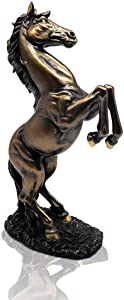 Lependor 12 inch Standing Horse Resin Statue for Home Decor Animal Ornament Sculpture Rearing Horse Art Figurine Decorative Sculpture - Bronze