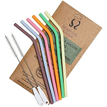 Reusable Silicone Straws BPA Free – (x6) STANDARD WIDTH 20oz, Eco Friendly for Safely Drinking Hot & Cold Drinks | Premium Quality, Seraphina's Kitchen | Protect Your Teeth Now!
