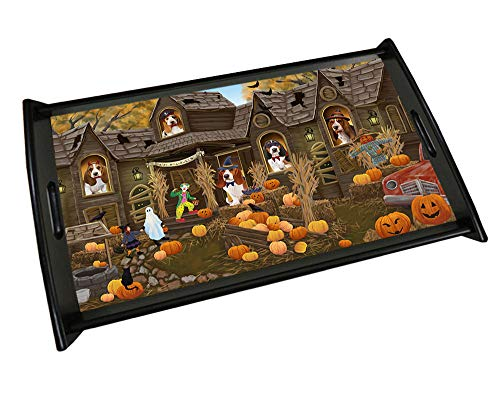 Haunted House Halloween Trick or Treat Basset Hounds Dog Wood Serving Tray TRP49079