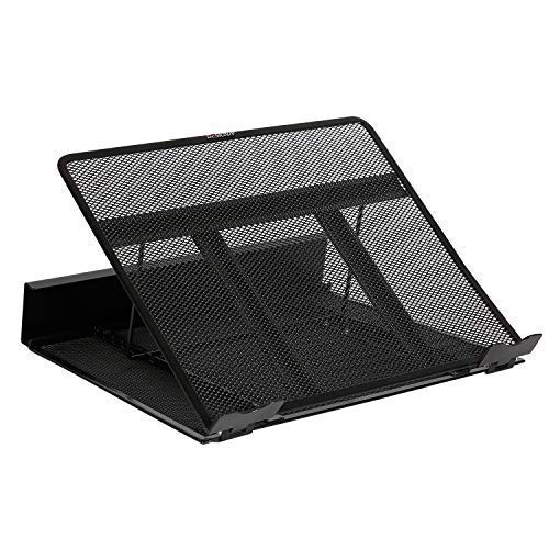 (DESIGNA Mesh Metal Ventilated Adjustable Laptop Stand for Desk Notebook Tablet Black)