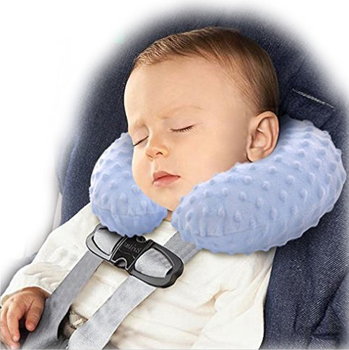 BlueBeach Inflatable Baby Children Travel Pillow Comfy Soft Neck Support Head Rest Cushion (Blue)