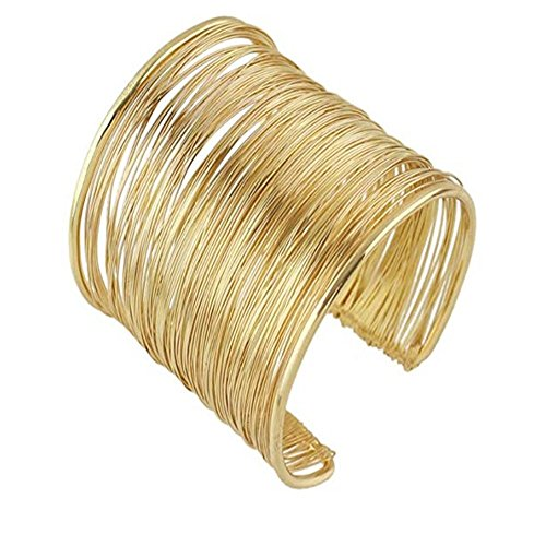 MXYZB Wire Metal Coil Thin Cuff Bracelet (Gold Color)