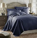 Caterina Navy Blue Color 3pc King/Cal-King Size Luxurious Quilted Bedspread Set Tencel / Cotton Coverlet, Bed Cover Set