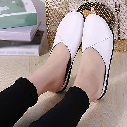 Cuir Chaussures Lianmengmvp Femme Dames Sandales Hopital 36 Cuisine Blanc Mules Ou Pour Semelle 41 Taille Confort Liège En vaqwHx
