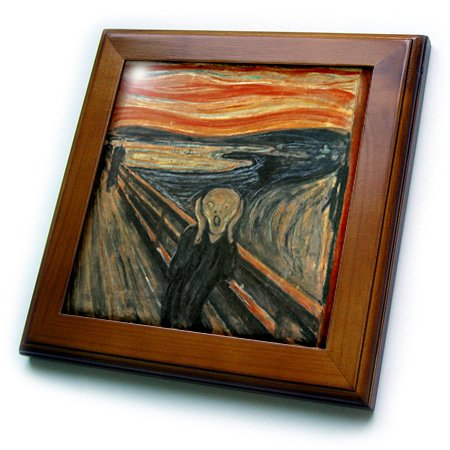 3dRose ft_60716_1 The Scream Painting by Edvard Munch Framed Tile, 8 by 8-Inch