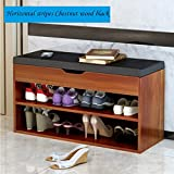 FKUO Bench Double-layer storage cabinet Shoe Organizer Storage Shelf Holds Up to 150KG Ideal for Entryway Hallway Bathroom Living Room and Corridor (803045cm, Horizontal stripes Chestnut wood black)