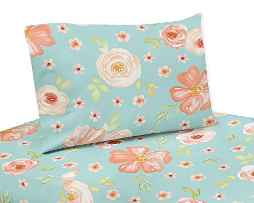 Sweet Jojo Designs Turquoise and Peach Queen Sheet Set for Watercolor Floral Collection - 4 piece set - Pink Rose Flower