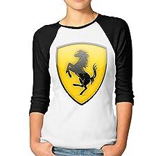 Women's Ferrari Team Logo Raglan 3/4 Sleeve T-Shirt