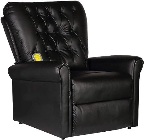 vidaXL Fauteuil de massage massant électrique inclinable en cuir artificiel noir