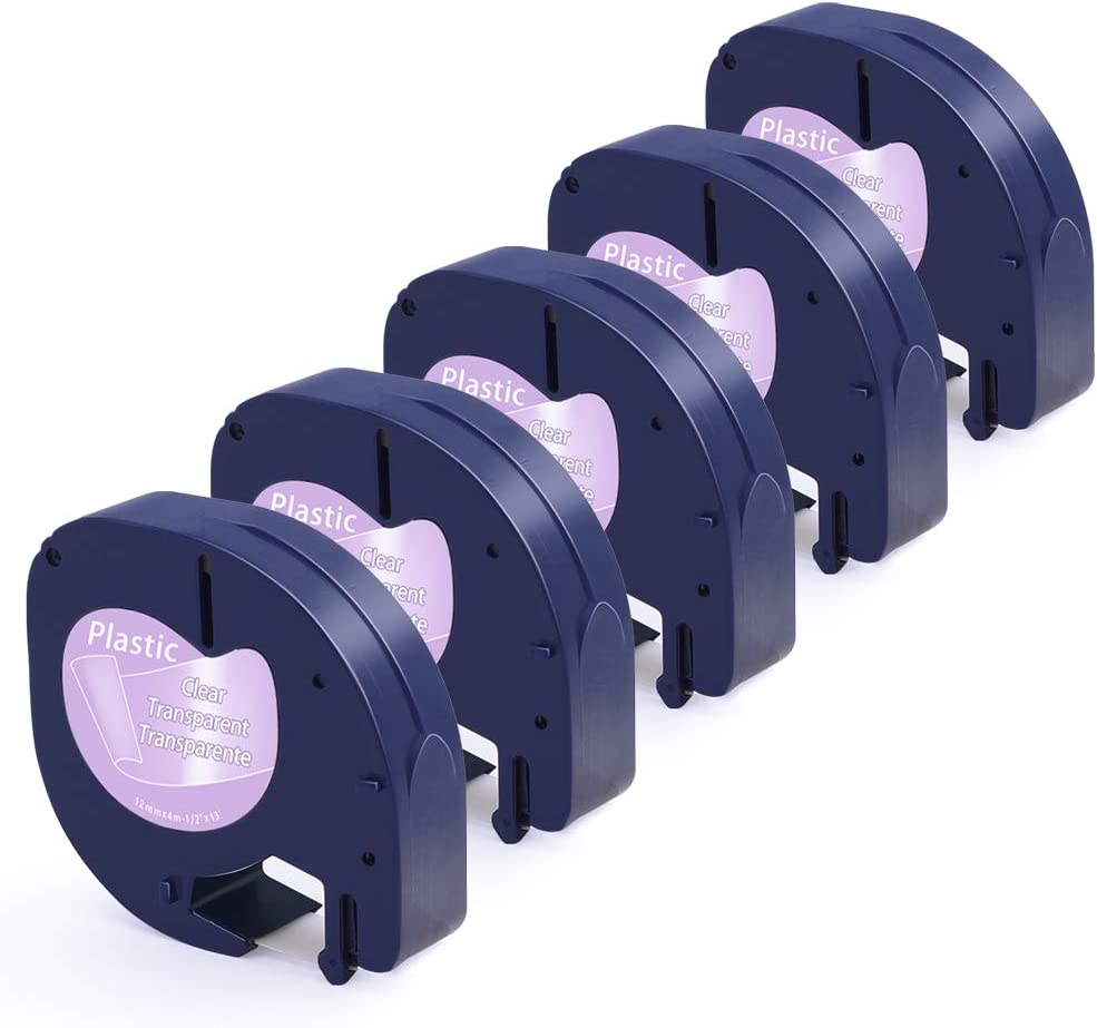 5 Rollen Airmall kompatible Etikettenband als Ersatz f/ür Dymo LetraTag Kunststoff Schriftband 12267 Schwarz auf Transparent 12mm x 4m kompatible mit Dymo LetraTag LT-100H LT-100T LT-110T