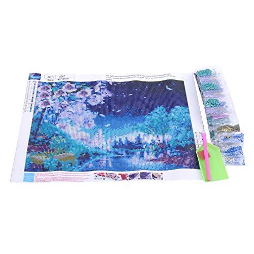GUAngqi 5D DIY Full Diamond Cross Stitch Painting Peach Blossom Night Living Room Decorative Wall Stickers Wallpaper