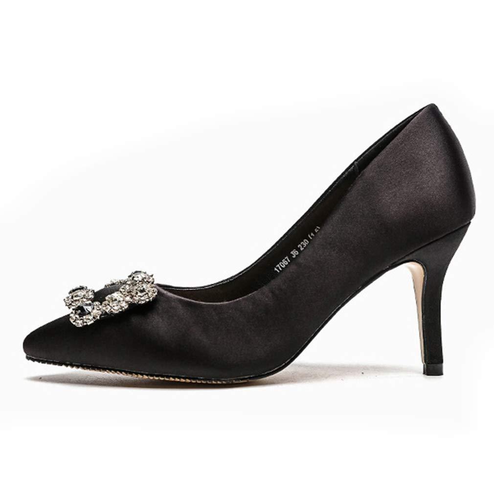 4ba51be84 Amazon.com | CYBLING Women's Satin Pointy Toe High Heels Slip On Stilettos  Rhinestone Buckle Low Top Evening Pumps | Pumps