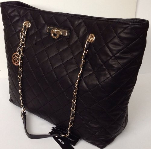 Amazon.com: Dkny Donna Karan Quilted Nappa East/west Shopper Black ... : dkny black quilted purse - Adamdwight.com