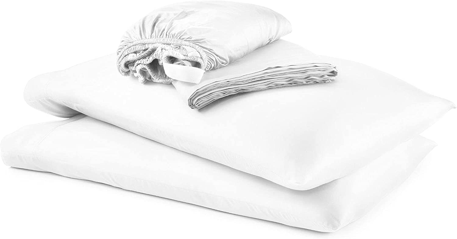 Bamboo Is Better Bed Sheets: Luxury 100% Bamboo Fiber Bedding, 4 Piece Bed Sheet Set. Soft, Breathable, Stay Cool and Hypoallergenic Bedsheets (California King, White)