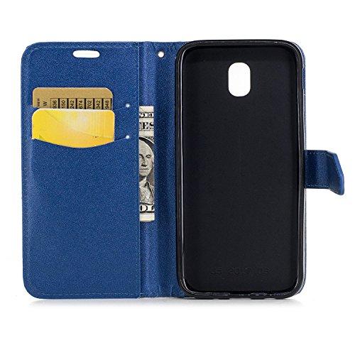 Funda Samsung Galaxy J5 2017 EU, Carcasa Cuero Samsung Galaxy J530, JAWSEU Samsung Galaxy J530F 2017 Tapa Trasera Carcasa Color de Contraste Diseño Empalme Cuero Billetera PU Leather Premium y TPU Sil Negro + Azul