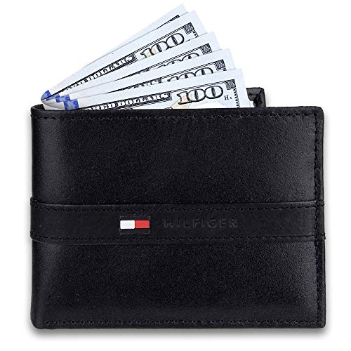 Tommy Hilfiger Men's Leather Wallet – Slim Bifold with 6 Credit Card Pockets and Removable Id Window, Casual Black, One… 3