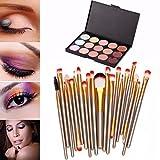 Susenstone 15 Colors Contour Face Cream Makeup Concealer Palette Professional + 20 Brush