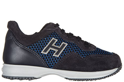 Hogan chaussures baskets sneakers garçon en daim neuves interactive blu