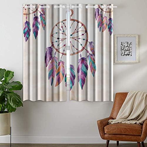 """HommomH"" 42 x 63 inch Curtains 2 Panel Grommet Top Darkening Blackout Room Dream Catcher Feather"