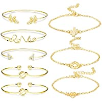 Jstyle 8Pcs Assorted Layered Bridesmaid Bracelets for Women Girls Love Knot Stackable Open Cuff Bangle Multiple Bracelet Set Jewelry Adjustable