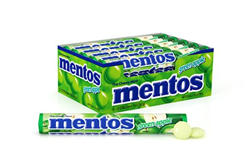 Mentos Chewy Mint Candy Roll, Green Apple, Non Melting, Stocking Stuffer, Gift, Holiday, Christmas, 1.32 ounce/14 Pieces (Pack of 15) -