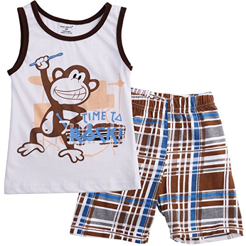 [TheFound Baby Boy Monkey Sleeveless T Shirt Plaid Short Pants 2 Piece Clothes Set 2-3Y] (Monkey Outfits For Toddlers)