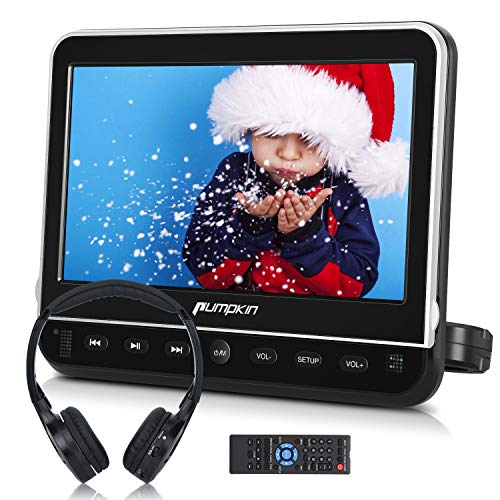 PUMPKIN 10.1 Inch Car Headrest DVD Player with Headphone, Support HDMI Input, 1080P Video, Region Free, Sync Screen, USB SD