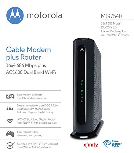 MOTOROLA MG7540 16x4 Cable Modem Plus AC1600 Dual Band Wi