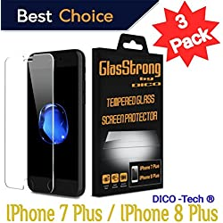GlasStrong9H Hardness HD Screen protector for Apple IPHONE 7 PLUS / IPHONE 8 PLUS Tempered glass Clear Film Anti Scratch Anti Fingerprint High Light Case Friendly 3 Pack kit set Retail packaging