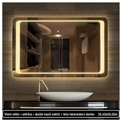 90150cm Illuminated LED Backlit Bathroom Mirror Light Sensor Touch Control with Demister - Bathroom Backlit Shaver Socket Mirrors With