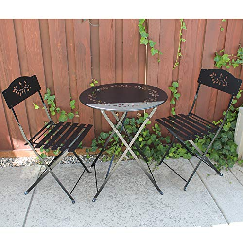 SUNSITT 3 Piece Patio Bistro Set Folding Outdoor Furniture Set Patio Table and Chairs Steel Frame Black