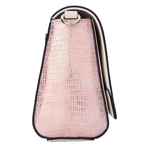 Kadell Frauen PU-Leder Crossbody Umhängetasche Kleine Klappe Satchel Handtasche Weiß Rosa Weiß Rosa